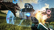 An epic battle taking place on an ark server. The player is attacking another player