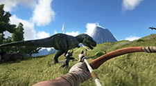A player hunting a dinosaur in an ARK Survival Server