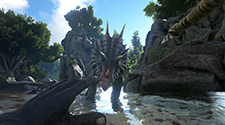 A dinosaur is charging at the player who is bracing for impact