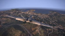 A screenshot of some aerial gameplay on an Arma 3 server