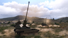 A screenshot of some artillery on an Arma 3 server