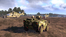 A screenshot of some vehicles on an Arma 3 server