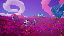 A screenshot of some Astroneer players on a server together, exploring the world