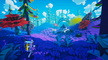 A screenshot of some players exploring new terrain in an Astroneer server