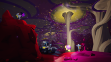 A screenshot of mushrooms being harvested by a group of Astroneer players
