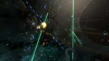 A screenshot of an explosion on an Avorion server