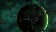 A screenshot of a planet of an Avorion server