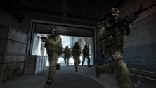 A screenshot of a the CT team in CS:GO leaving their base of operations