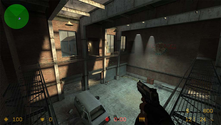 A screenshot of a CS:S warehouse