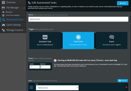 A screenshot showing how the robust Automated Task scheduler in NodePanel
