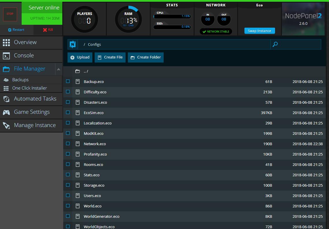 Eco server hosting nodecraft a screenshot of our web based file manager altavistaventures Image collections
