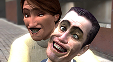 A screenshot from Garry's mod where two players are warping their faces