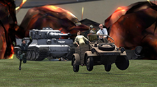 Players are driving a car away from a large explosion in a PVP Gmod server