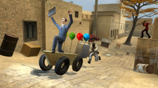 Gman from the game gmod is riding in a tub with balloons attached to it, and being chased from a Counter Strike player