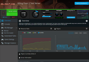 A screenshot showing game server stats and overview page in NodePanel
