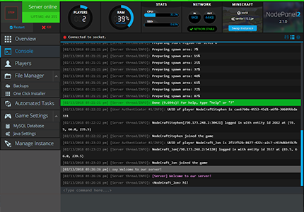 A screenshot of the output and server logs generated for a server