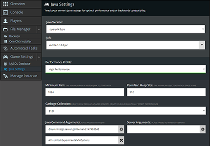 A screenshot showing how simple it is to tweak java server settings