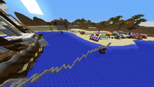 A beach on a populated Minecraft server
