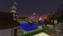 A Minecraft community server's harbour
