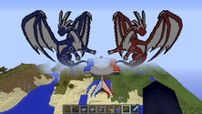 Pixel art of 2 dragons in a community Minecraft server