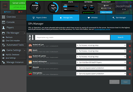 A screenshot the player management UI in NodePanel