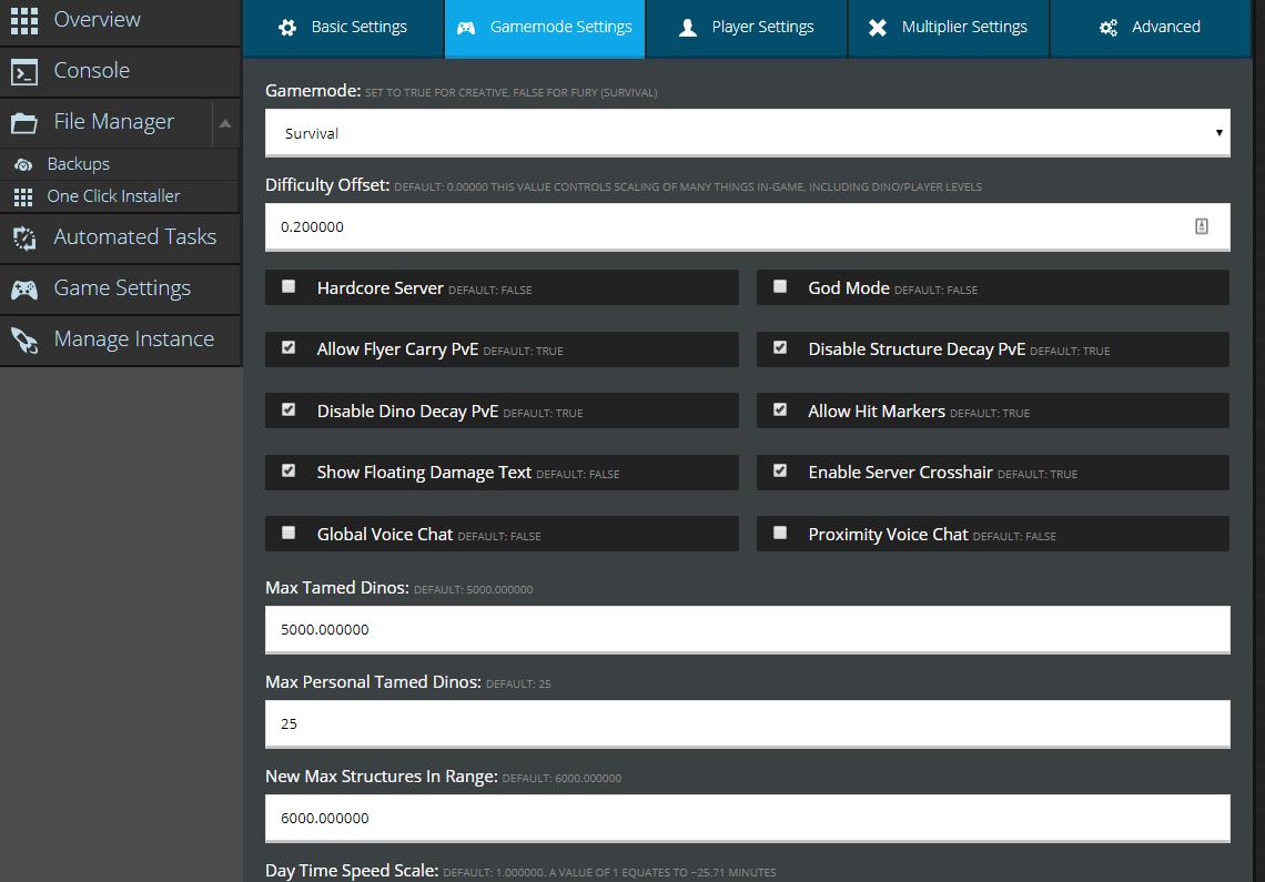 PixARK Server Settings | PixARK | Knowledgebase Article - Nodecraft