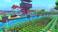 A screenshot from a PixARK server, where players have setup a farm