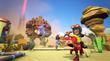 A screenshot from a PixARK Server where players are attacking a mob together