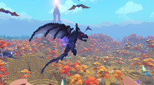 A screenshot of flying dinosaurs in the game PixARK