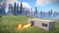 PVP between two rust players. One player is using a flame thrower on the other player