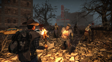 A player is attaching zombies with fire on a 7 Days to Die Server