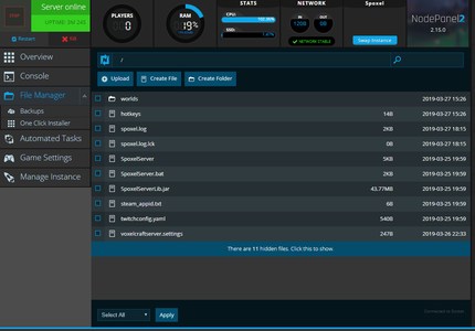 A screenshot of our web-based File Manager