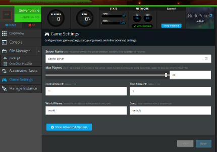 A screenshot showing how simple it is to change game server settings