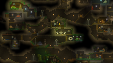 A screenshot of a Starbound server base, deep underground
