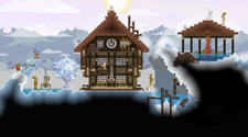 Players are working together to attack mobs in a Starbound PVE Server