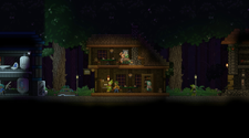 A player-built house in the a Starbound server