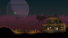 Screenshot of a starbound server with players in a house