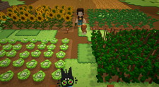 A screenshot from overhead of a farm in Staxel