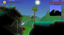 A screenshot of a PVP Terraria server, with two players attacking eachother