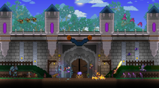 A screenshot from a Terraria server of a large castle base