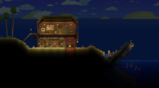 A screenshot of a Terraria server hosting, with a base by the ocean