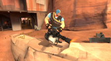 A screenshot of a TF2 server, with a BLU heavy
