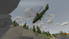 A screenshot of some aerial gameplay on an Unturned server