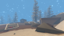 A screenshot of a winter map on an Unturned server