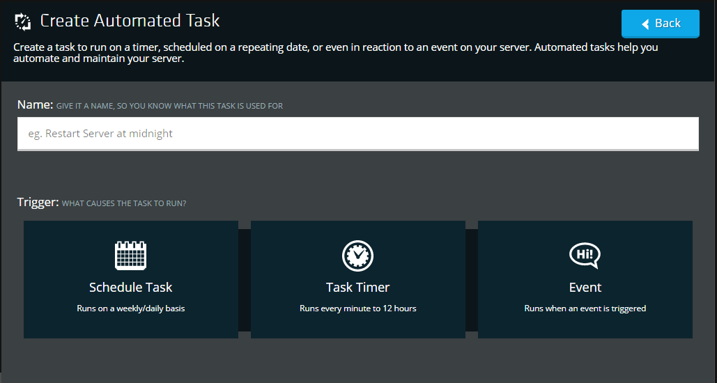 screenshot of NodePanel automated tasks