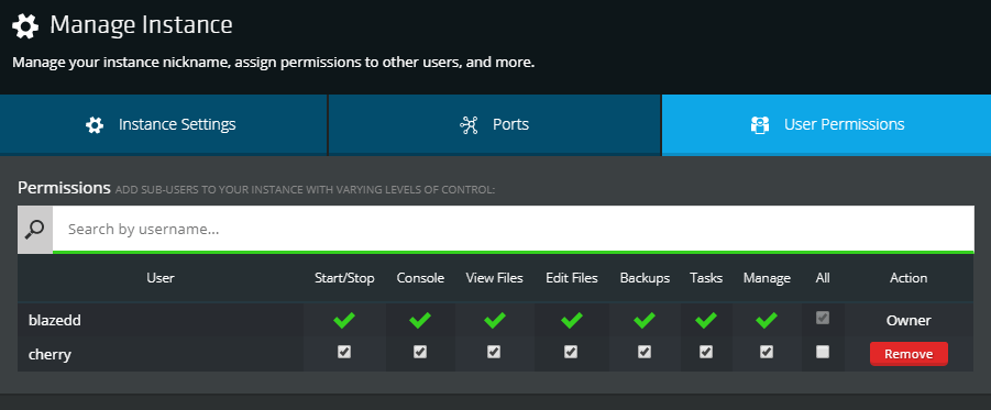 screenshot of NodePanel permissions management
