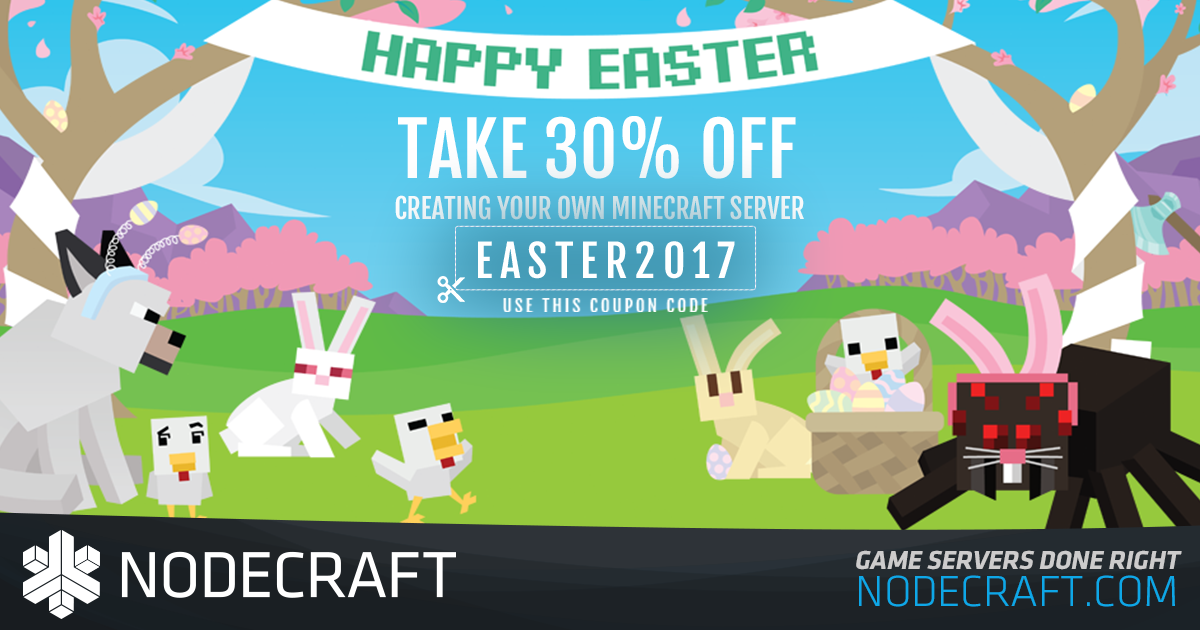 Setup a Minecraft server this Easter and take 30% OFF your first month!
