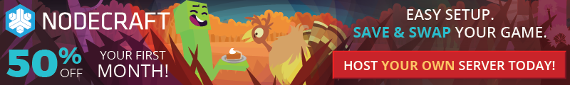 The Nodecraft Thanksgiving sale is here! Take 50% off any game server today!